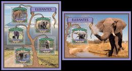 Guinea Bissau 2016 Fauna Elephants Klb + S/s MNH - Olifanten