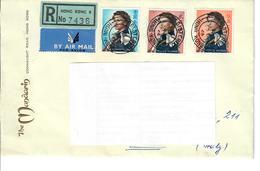 HONG KONG 1962 - REGINA ELISABETTA 3 VALORI SU BUSTA 1.30 - 2 - 5 S - Hong Kong (...-1997)
