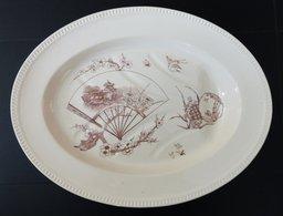RARE ! Très Grand Plat En Faïence Pour La Volaille KG Luneville Décor YOKO. Terre De Fer 1900 - Dishes