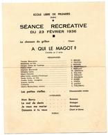 Pruniers 36 Indre Programme Ecole Libre 1936 - Programmes