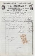 Factuur Facture - Tonnellerie Tourangelle - L. Michaux - Paris 1911 - Petits Métiers