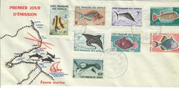 COSTA FRANCESE DEI SOMALI  1959 - FAUNA PESCI - 8 VALORI SU FDC - Usados