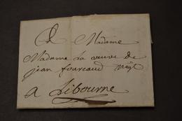 Lettre 1784 Bordeaux Pour Libourne Cachet De Cire - Marcophilie (Lettres)