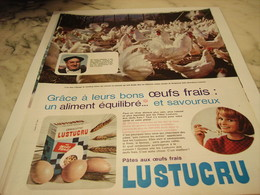 ANCIENNE PUBLICITE PATE ALIMENTAIRE OEUF FRAIS LUSTUCRU 1965 - Affiches