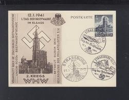 Dt. Reich PK 1. Tag Der Briefmarke Im Elsass 1941 - Germania