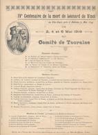 TOURAINE, AMBOISE, 1919 - Programme Du IV° Centenaire - Léonard De Vinci, Clos Lucé - Programmes