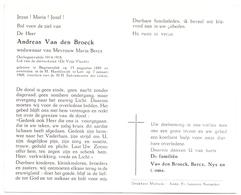 Devotie - Doodsprentje Overlijden Oudstrijder - Andreas Van Den Broeck - Begijnendijk 1889 - Lier 1968 - Décès
