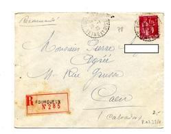 Lettre  Recommandee Pourqueux Sur Piax - Marcophilie (Lettres)