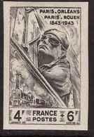 France Non Dentelé 1944 N°618 Cote 61€ Centenaire Lignes Chemin De Fer Paris Orleans Cheminot Train Locomotive - Francia