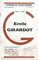 Petit Catalogue De 8 P. Emile Girardot. Fonderie De Magny-Vernois, Par Lure (Haute-Saône). Cuisinières Et Poêles. - France