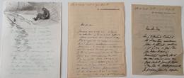 GEORGES SCOTT  1873 - 1943 3 Lettres Autographe 1 Dessin Original - Autographes
