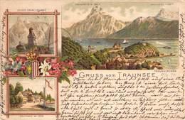 Traunsee Mehrbild Litho 1894 AKS - Traun