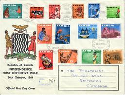 ZAMBIA 1964 - FAUNA - SERIE COMPLETA SU FDC - Zambia (1965-...)