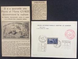 PS77 N°402 Union Contre Cancer Curie Palais Découverte + Découpures Journaux Paris 23/11/1938 - France