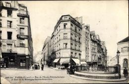 Cp Paris V., Rue De L'Ecole Polytechnique Et Rue De La Montagne Sainte Geneviere, Grand Hotel - France