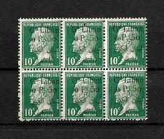 Libano 1924-25 Bloque De 6 Sellos De Francia De 1923-24 Con Sobrecarga Bilingue - Líbano