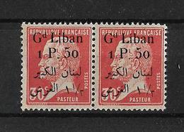 Libano 1924-25 Pareja De Sellos De Francia De 1923-24 Con Sobrecarga Bilingüe - Líbano