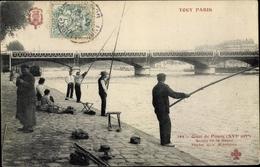 Cp Paris Passy, Quai De Passy, Bords De La Seine, Pêche Aux Mierobes - France
