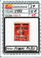 EUROPE-#GERMANY EMPIRE#MEMEL#KLAIPEDA (GDM-150-1 (43) - Klaipeda