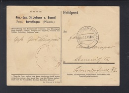 Dt. Reich Feldpost Res.-Laz. St. Johann V. Bassel Frankreich Bartolfingen 1943 - Deutschland