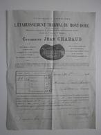 63 Le Mont Dore. Etablissement Thermal, Concession Jean Chabaud. Facture Du 30 Octobre 1894 - France