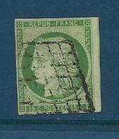 Timbre Oblitéré France ,  N°2 Yt, 15c Vert , Céres 1850, Grille - 1849-1850 Cérès