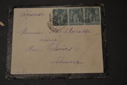 Lettre 1888 Type Sage X 3 + Cachet Ambulant BORDEAUX RAPIDE - Marcophilie (Lettres)