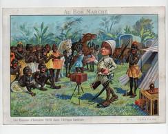 Grande CHROMO Au Bon Marché Robin Les Chasses D'Onésime Toto Dans L'Afrique Centrale N°1 Caravanes Noirs Appareil Photo - Au Bon Marché