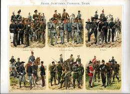 Militaire Militaria Uniformes Train Jäger Schützen - Véritable Chromolithographie Fin XIXème - Illustration De R. Knotel - Uniforms