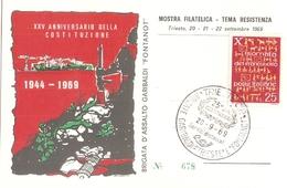 01/FG/19 - RESISTENZA - TRIESTE: MOSTRA FILATELICA XXV ANNIVERSARIO DELLA COSTITUZIONE BRIGATA FONTANOT - Storia