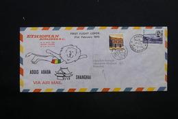 ETHIOPIE- Enveloppe 1 Er Vol Addis Ababa / Shangaï En 1973 - L 24744 - Ethiopie