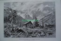 053-2 Lienzer Hütte Debanttal Schobergruppe Riesenbild 1899!! - Estampes