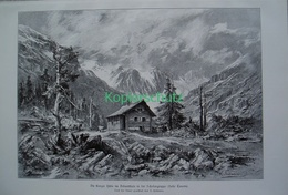 053-2 Lienzer Hütte Debanttal Schobergruppe Riesenbild 1899!! - Gegraveerde Prenten