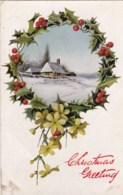AM28 Christmas Greeting - Snow Covered House In A Holly And Mistletoe Frame - Christmas