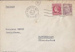 35 - ILLE Et VILAINE - RENNES RP  - FRANKERS SECAP / 1947 / REN152V+ - Marcophilie (Lettres)