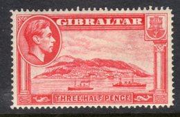 GIBRALTAR - 1938-1951 KGVI 1938 THREE HALF PENCE CARMINE PERF 14 FINE MINT MM * REF C SG123 - Gibraltar
