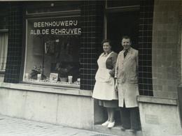 """BEENHOUWERIJ  """"ALB. DE SCRIJVER"""" CARTE POSTALE PHOTOGRAPHE ANTWERPEN BELGIQUE + 2 Documents Guerre 1939 - 1945 + Photos - Gent"""