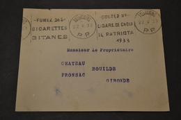 Devant Lettre 1933 FLIER TOURCOING PP Fumez Des Cigarettes + Goutez Un Cigare Au Choix - Marcophilie (Lettres)