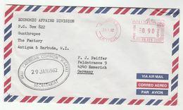 1982 ANTIGUA East Caribbean COMMON MARKET SECRETARIAT Airmail COVER  METER 0.90 PB025 Stamps To GERMANY - Antigua And Barbuda (1981-...)