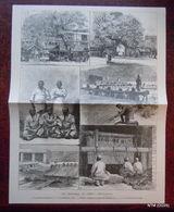 DESSIN GRAVURE 19ème : PESCHWOUR LES FRONTIERES DE L'INDE (différentes Vues) : MARCHE AUX SOIES - FABRICATION TAPIS - Newspapers