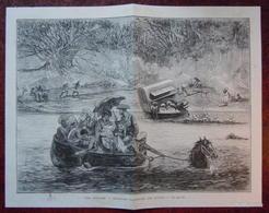 DESSIN GRAVURE 19ème : VOYAGEURS TRAVERSANT UNE RIVIERE EN INDE - Newspapers