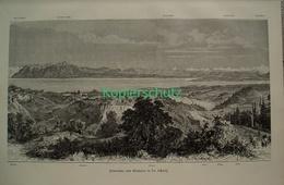 095-3 Panorama Genfersee Lausanne Riesenbild HS 1891!! - Stampe