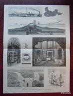 DESSIN GRAVURE 19ème : EXPLOSION DE L'ECUEIL DE FLOOD-ROCK A NEW-YORK : DIFFERENTES VUES - Newspapers