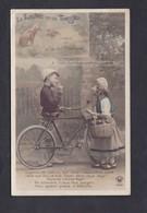 Carte Fantaisie Fable De Jean De La Fontaine Le Lievre Et La Tortue Enfants Velo Bicyclette Panier Osier - Other
