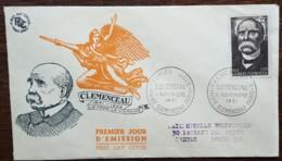 FDC 1951 - YT N°918 - ARMISTICE / CLEMENCEAU - PARIS - FDC