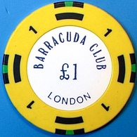 £1 Casino Chip. Barracuda Club, London, U.K. N74. - Casino