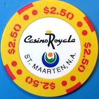 $2.50 Casino Chip. Casino Royale, St Maarten, N.A. N74. - Casino