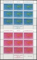 JUGOSLAWIEN  1457-1458, 2 Kleinbogen 3x3, Postfrisch **, Europa CEPT 1972, Sterne - Europa-CEPT