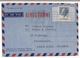 Aérogramme Australien 1961 Destination Paris ( IX ) ( France ) - Aerogrammes