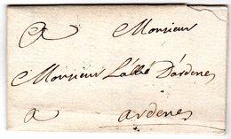 Lettre Envoyée De SAINT MICHEL L'OBSERVATOIRE  1761  Envoyée à Ardenes ( Mane ) - Marcofilie (Brieven)